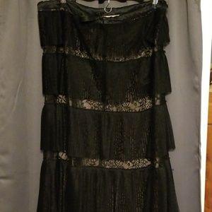 Max Azria black maxi lace skirt size 10(?)